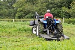 man driving a bush hog through a field